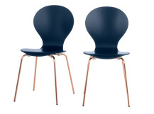 2 x Kitsch Dining Chairs, Blue and Copper