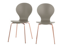 2 x Kitsch Dining Chairs, Willow Grey and Copper Legs