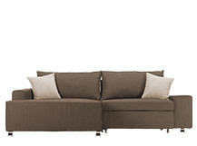 Mayne Left Hand Facing Corner Sofa Bed, Grouse Brown