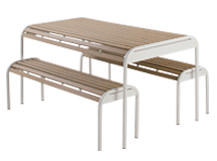 Mead Outdoor Bench Set, Chalk White