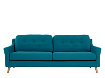 Rufus 3 Seater Sofa, Rich Azure