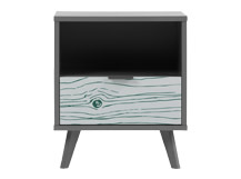 Woody Bedside Table, Teal and Grey
