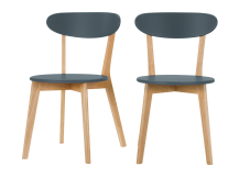 2 x Fjord Dining Chairs, Oak and Blue