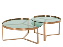 Aula Nesting Coffee Table, Copper and Green Glass