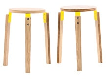 2 x Dorso Stacking Stool, Ash and Yellow