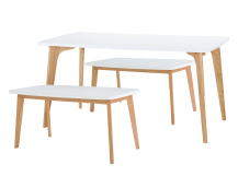 Fjord Rectangle Dining Table and Bench Set, Oak and White