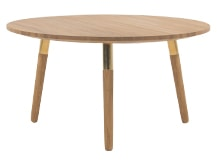 Range Round Coffee Table, Solid Oak and Brass