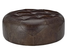 Scott Large Round Ottoman, Vintage Brown Premium Leather
