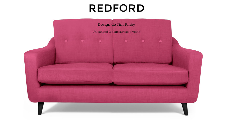 Redford, design de Tim Fenby, un canapé 2 places, rose pivoine | made.com
