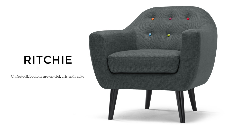ritchie un fauteuil avec boutons arc en ciel en gris anthracite. Black Bedroom Furniture Sets. Home Design Ideas