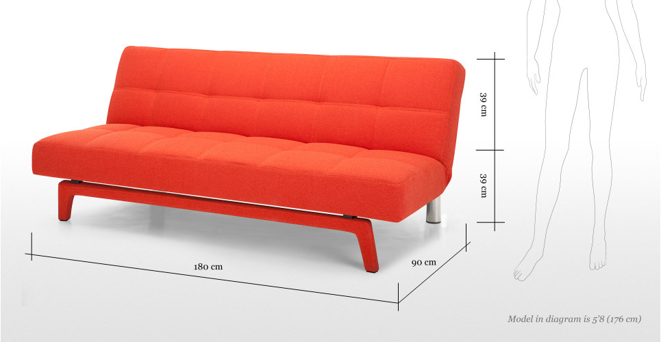 Yoko sofa bed in saffron orange for 90 cm sofa bed