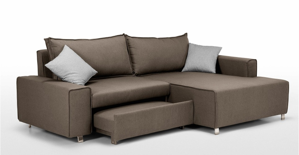 Mayne Right Hand Facing Corner Sofa Bed Dark Grey Madecom