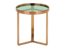 Aula side table brushed copper and green glass for Table exterieur hauteur 90