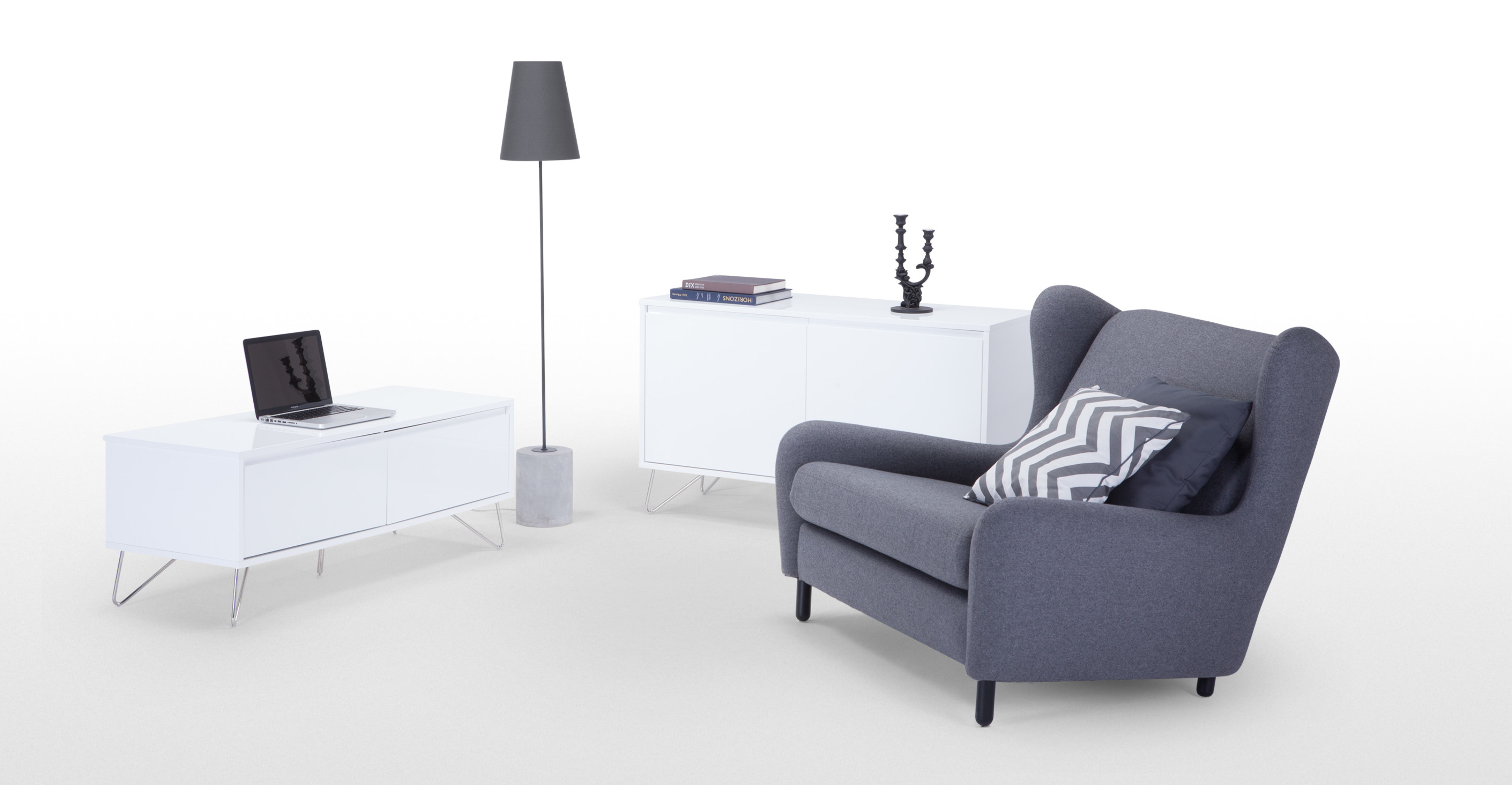 elona un meuble tv blanc brillant. Black Bedroom Furniture Sets. Home Design Ideas
