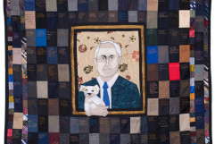 PM Please Quilt (2015) 210cm x 165cm. Appliqué quilt made using suit swatches and recycled ties, bamboo wadding, hand embroidered using cotton embroidery thread. Image: Tal Fitzpatrick