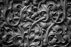 Detail of the extraordinary oak-inspired carving in the Speaker's Chair. Photographer: Andrew Merry, Museum of Australian Democracy Collection.