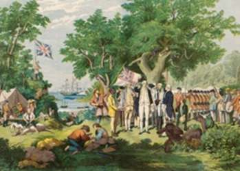 A painting depicting Captain Cook taking possession of the Australian continent on behalf of the British Crown, AD 1770