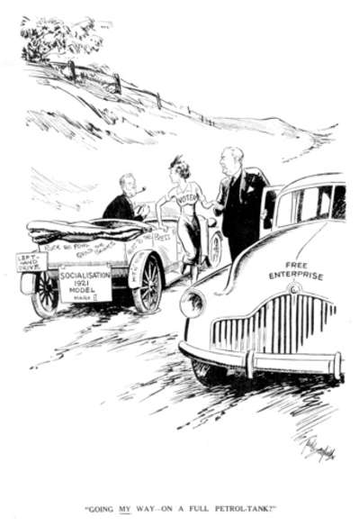 1949 election cartoon, Going My Way? by Ted Scorfield.