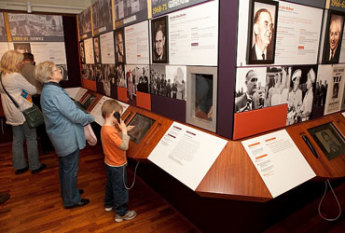 Visitors enjoying the new Prime Ministers of Australia exhibition.