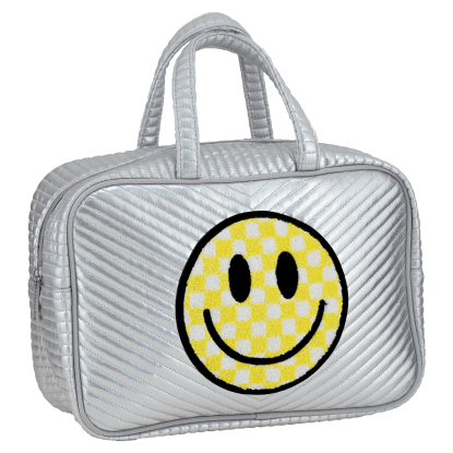 Picture of Checkered Smiley Face Chevron Large Cosmetic Bag