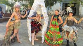 Models Emilie Johnstone-Maher wearing Satori, Tash Kennedy wearing La Mariposa, Maddison Hall wearing Fireflies and Esme Gibson in Cognitive Beauty.