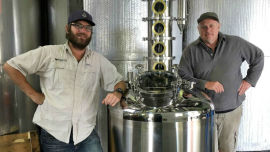 Greg Garnish and senior winemaker Bernie Stanlake with the Harmans Pisco still.