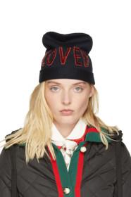 구찌 Gucci Navy Wool Loved Beanie