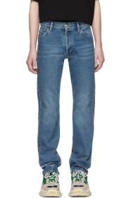 발렌시아가 Balenciaga Blue Destroyed Hem 5 Jeans