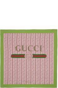 구찌 Gucci Pink Silk Flowers Scarf