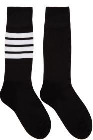 Thom Browne 톰 브라운 Black Lightweight Cotton Mid-Calf Socks