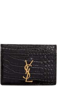 생 로랑 Saint Laurent Black Croc Logo Card Holder