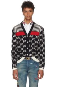 구찌 가디건 네이비 Gucci Navy Wool Striped GG Cardigan