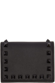 Black 발렌티노 Valentino Garavani Small Rockstud French Flap Wallet