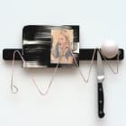 Sara Magenheimer, Paloma, 2016, knife rack, painted steel wire, collaged pigment print on painted clay board, knife, rubber door stop 10 1/2 x 14 1/2 in. (26.67 x 36.83 cm)