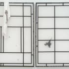 Andrei Koschmieder, Untitled (Squid Screen), 2013, wood, mulberry paper, squid ink, silk, inkjet dye, 61 × 36 in.