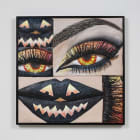 Gina Beavers, Halloween eyes, 2015, acrylic on canvas on panel with wood frame, 31 x 31 in.