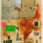 Sterling Ruby, (4C) Study for Cubes, Codes, Crypts, and Cosmetics, 2006, collage, pencil, nail polish, and acrylic paint on paper, 50 x 38.5 in. (127 x 97.79 cm.) SR_FP892