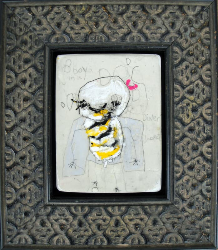 Bboy in a Diner Jacket, by Richard Campiglio, mixed media 7 x 8 in framed 2013