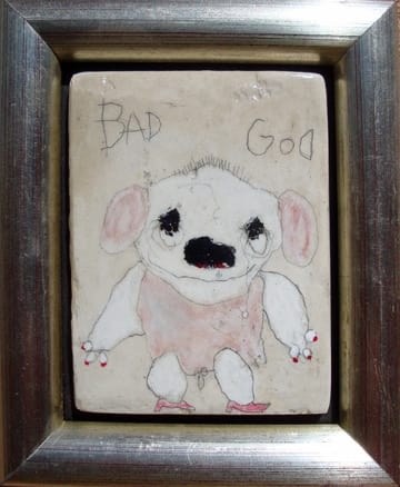 Bad God   mixed media 6x7 framed 2009 (sold)
