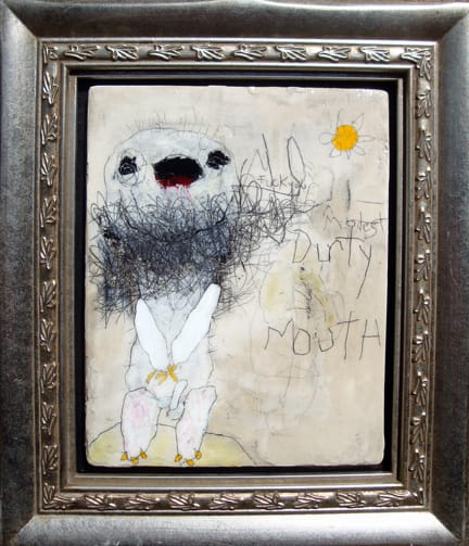 Modest Dirty Mouth   mixed media 11x13 framed 2009