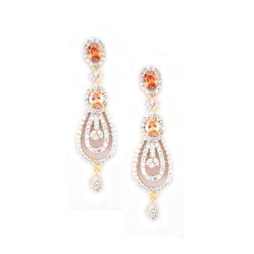 Classy Topaz Colored Gold Plated Earring