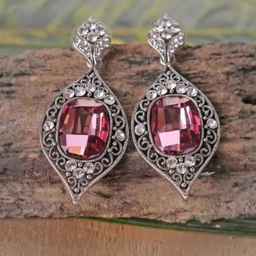 Pink Crystal Indian Style Earrings made with elements from Swarovski