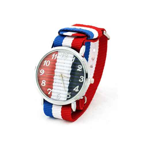 Blue, White & Red Strap Watch