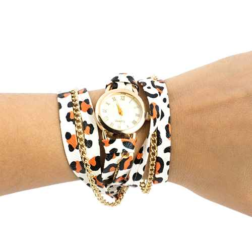 Gold Leopard Wrap Watch