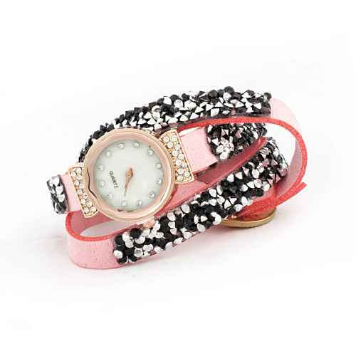 Pink and Silver Sequence Wrap Watch
