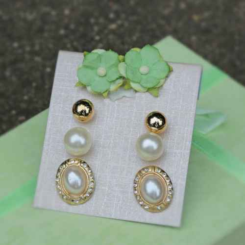 Three Piece Pearl Earring