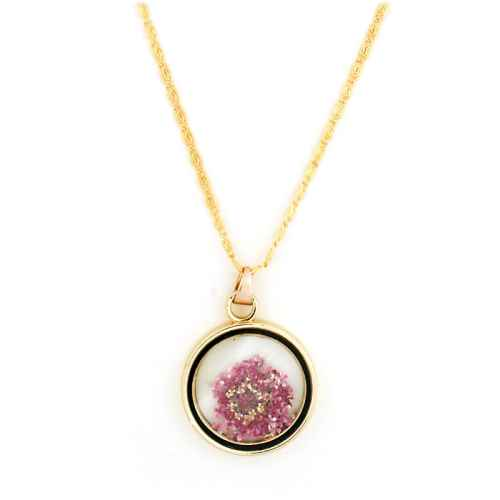 Pink Dried Flower Necklace