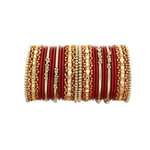 Beautiful Red and Gold Glass Bangles for Kids
