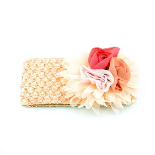 Cream hair band with flowers for Kids