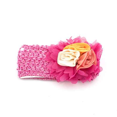 Dark Pink hair band with flowers for Kids
